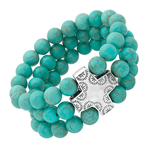 Silpada 'Devotion' Natural Howlite Beaded Stretch Bracelet in Sterling Silver, 7