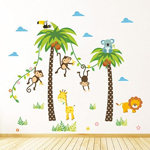 Suyunyuan DIY Jungle Animals Wall Stickers Kids Rooms Safari Nursery Rooms Baby Home Decor Poster Monkey flowers Elephant Horse Wall Decals by Suyunyuan Decoration Series (Image #3)