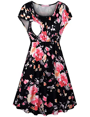 JOYMOM Floral Nursing Dress,Pregnancy Trendy O Collar Flutter Sleeve Breastfeeding Outfits Latched Mama Nightgown Maternity Cute Flattering Boutique Elastic Clothes Black Flower M