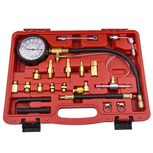 Bang4buck 20 Pieces 0-140 PSI Fuel Injection Pressure Tester Kit with Case for Gasoline-driven Car, Truck, RV, SUV & ATV (Pressure Kit)