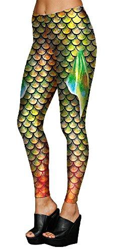 Delcoce Womens Mermaid Stretch Leggings