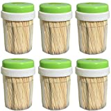 Round Wooden Toothpick 3000 Count - Double Sided Natural Splinter-Free Bamboo Wood - 6 Dispensers with 500 Pieces Per Holder