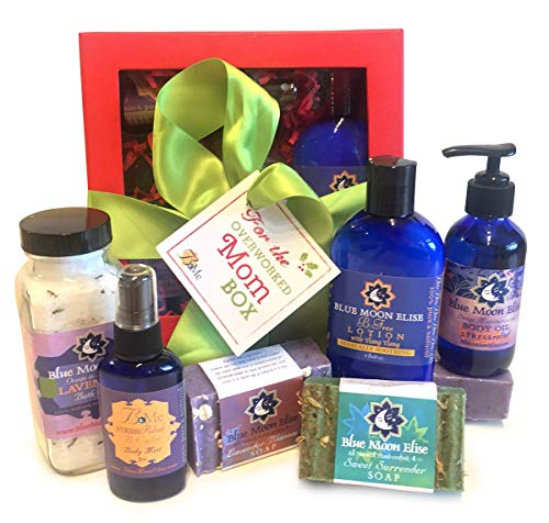 Over Worked or New Mom Bath and Body Home Spa Gift Set, 100% Pure and Natural Essential Oils in Massage Oil, Body Lotion, Cold Processed Soaps, Bath Salts for Stress Relief and Relaxation.
