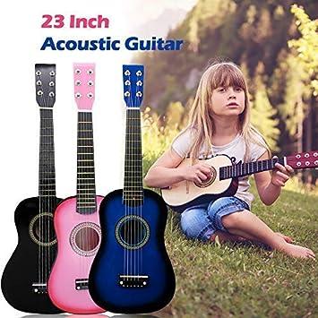 Origlam Guitarra acústica para principiantes de 23 pulgadas, guitarra acústica clásica de 6 cuerdas, guitarra acústica, kit para principiantes, ideal para niños, uso infantil, color rosa