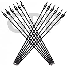 GPP Archery Carbon 30-Inch Targeting / Hunting Arrows with Field Points Replaceable Tips (12 Pack) for Recuve Bow & Compound Bow