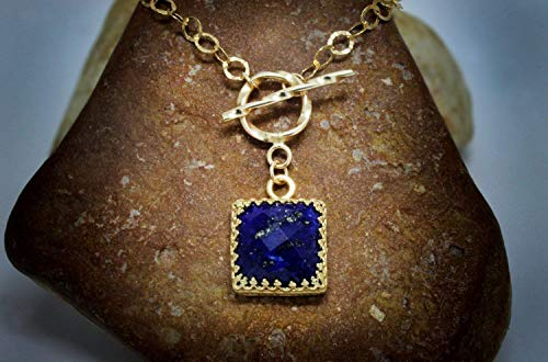 - gold lapis necklace,gold necklace,clasp necklace,toggle clasp jewelry,gemstone necklace,September birthstone,square