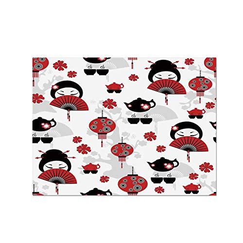 (C COABALLA Lantern Heat Resistant Table Mat,Geisha Japanese Fan Ancient Chinese Traditional Tea Pot Lanterns Floral Graphic Design Decorative for Dining,15.7