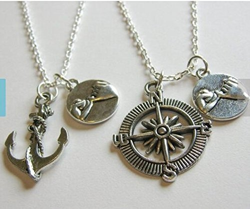 Spring Sale 2 Pinky Promise Pinky Swear Anchor and Compass Best Friends BFF Sisters Couples Necklaces