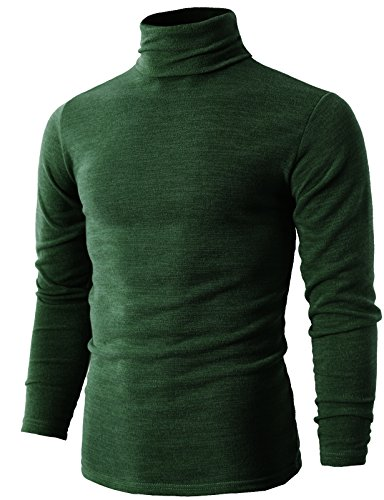 H2H Men's 100% Merino Wool Turtleneck Sweaters Green US L/Asia 3XL (KMTTL028)
