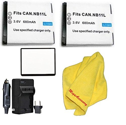 2パックnb11l NB - 11l電池の充電器for PowerShot ELPH 110、ELPH 130、ELPH 135、ELPH 140、ELPH 150、ELPH 160、ELPH 170は、ELPH 340、ELPH 350、a4000、sx400、sx410 +布+スクリーンプロテクター B017JGB88K