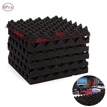 Cratone 6 Unidades de Paneles acústicos insonorizados de Espuma para huevera, baldosas de Espuma de absorción de Sonido, cuña para hogar y Espuma de ...