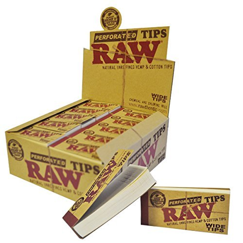 Raw Rolling Papers Perforated Wide Cotton Filter Tips Full Box Of 50 Packs
