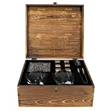 Atterstone Cocktail Whiskey Box Set Includes 2 Swirl Glasses, 6 Chilling Stones, Storage Bag, 2 Dark Stone Coasters, Silicone-Ended Tongs, and Wood Box with Etched interior, Gift Box Set