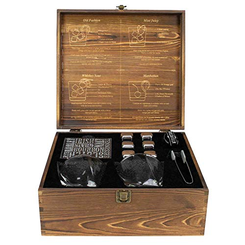 2 Stainless Steel Chilling Stones Tasting Kit Gift Set for Whiskey Aficionados Atterstone 4-Piece Whiskey Box Set 2 300-ml Whiskey Glasses and Silicone-tipped Tongs Classic Stained Wooden Finish
