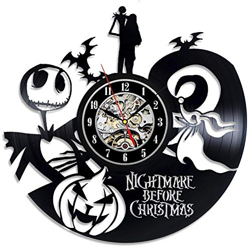 Meet Beauty Creative Vinyl Record Wall Clock Nightmare Before Christmas Theme -Unique Handmade Gift for Halloween and Children Nursery Kids' Room