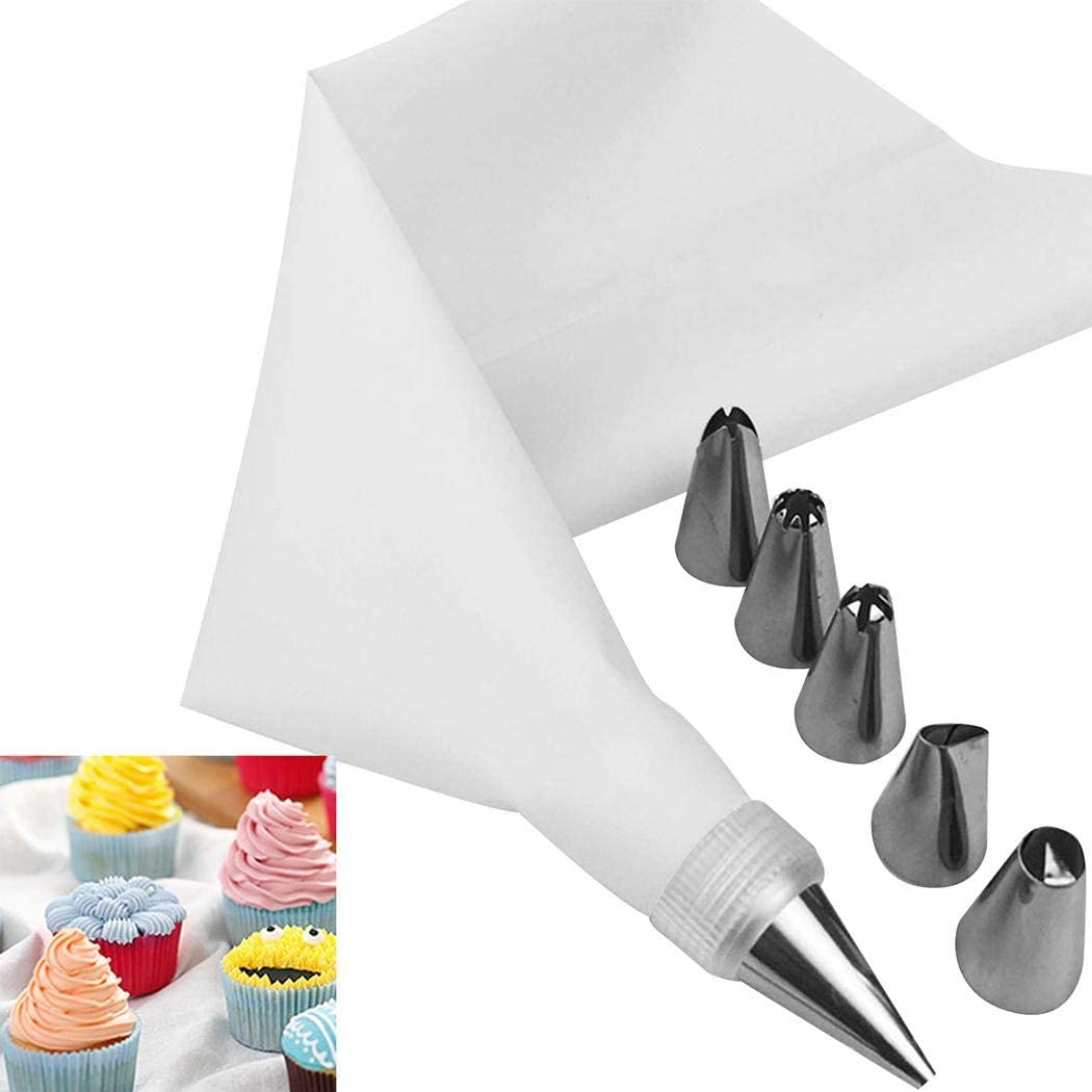 LEANO Sholdnut 8 PCS//Set Silicone Icing Piping Cream Pastry Bag 6 Stainless Steel Nozzle Set DIY Cake Decorating Tips Bakeware Utensil for Cook Tool /& Gadget Sets