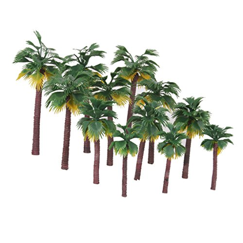 Miniature Plastic Palm Trees Fairy Garden Landscape Bonsai Decor Pack of 12