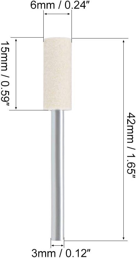 sourcing map 6mm Feutre laine Pointe Mont/ée Cylindre Polissage Lustrage Roue 5Pcs