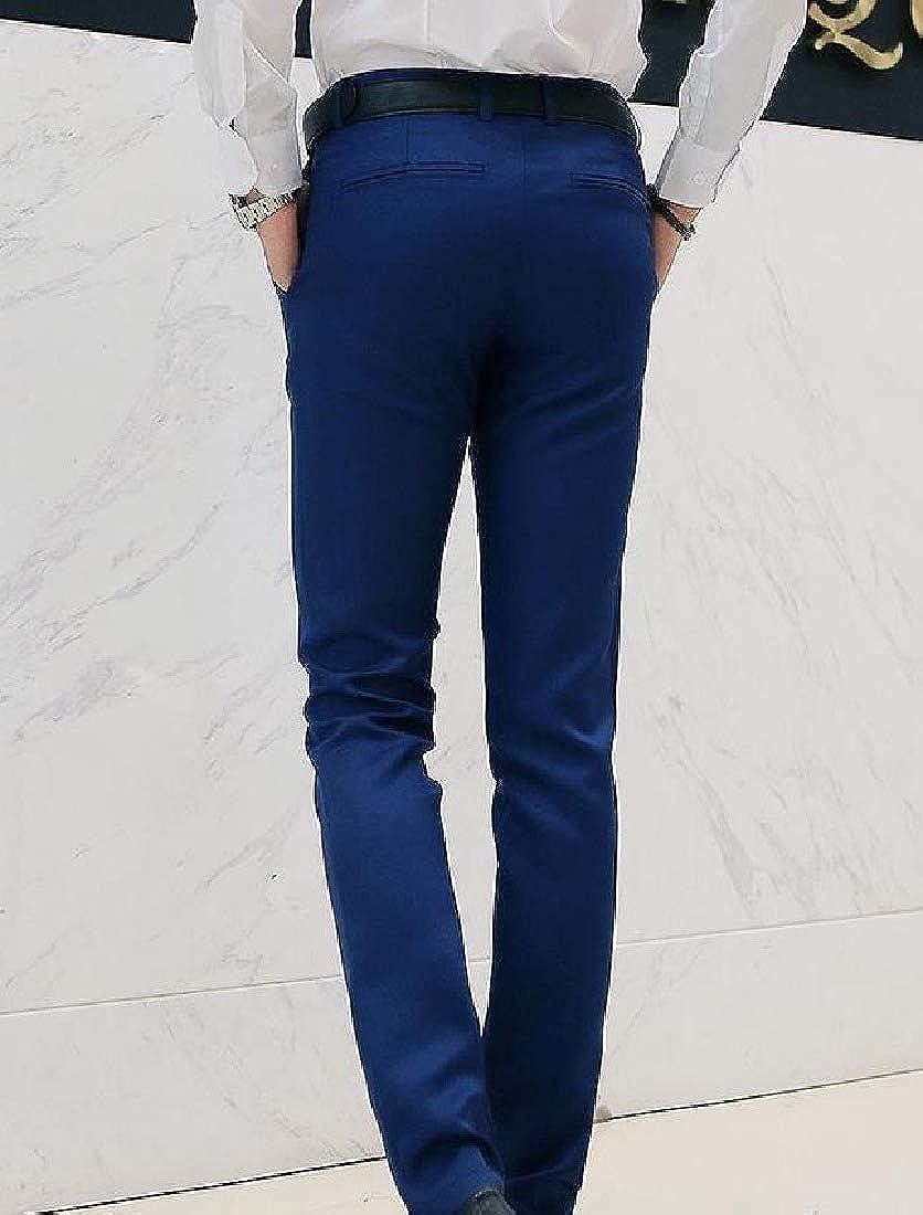 RDHOPE-Men Comfy Plus-Size Pure Color Classic Straight Plain-Front Pant