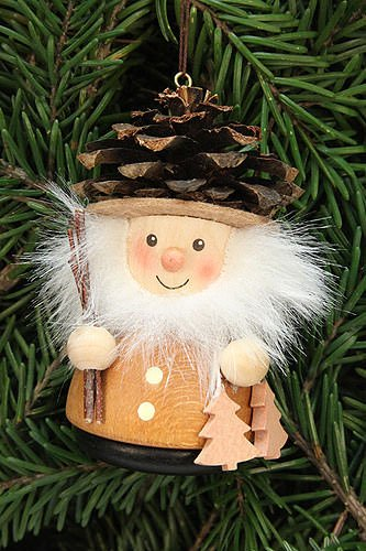 Authentic German Erzgebirge Handcraft Tree Ornaments Tree Ornament Teeter Man Cone Man Natural - 8,0cm / 3.1inch - Christian Ulbricht