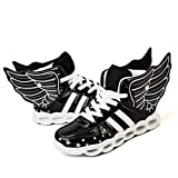 ONEKE LED Light up Shoes Running Shoes for Kids Boys Girls 4 Colors Flashing Wings Sneakers (11M Little Kid, Black)