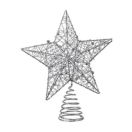 8e923d50c2d3 Image Unavailable. Image not available for. Colour: Contemporry Large Tree  Topper Silver Star - Metal wire & beads Christmas decoration
