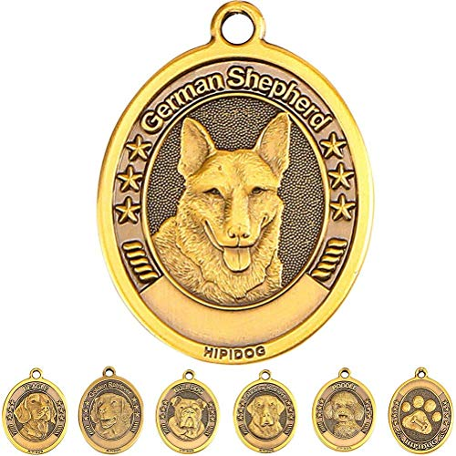 Dog Tags for Dogs Engraved Personalized Dog Name tags Custom Pet ID Tags Large Brass 3D Military Small Dog Tag Ring Poodle/Bull Dog/Golden Retriever/German Shepherd/Beagle/Labrador Retriever/Paw ()
