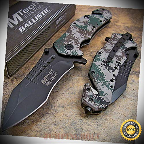 Grey Desert Digital Camo Spring Assisted Rescue Pocket Sharp Knife - Premium Quality Hunting Very Sharp EMT EDC