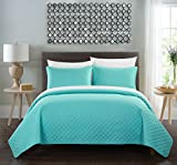 Chic Home Amandla 3 Piece Cover Set Rose Star Geometric Quilted Bedding-Decorative Pillow Shams Included, King, Aqua