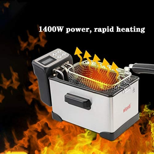 XLOO Petit Friteuse,2.5L, Friteuse électrique en Acier Inoxydable 1400W,Température et minuterie réglables,qualité Professionnelle,opération Simple,Facile à Nettoyer