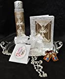 First Communion Divine Holy Spirit Long Candle Mini Book Prayers With Silver Rosary Set