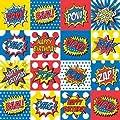 """Bam! Pow! Zap! Comic Superhero Theme 24"""" X 6' Flat Gift Wrap Paper"""