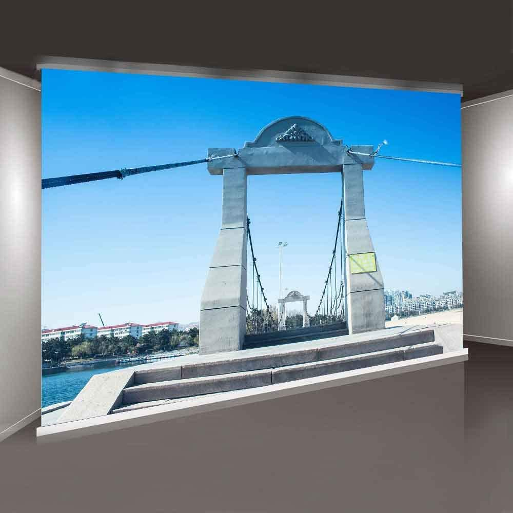 MTMETY 10X7ft Blue Sky Cloud Cable Stayed Bridge Background for YouTube Travel Party Photography Photo Video Studio Props Backdrop XCME396