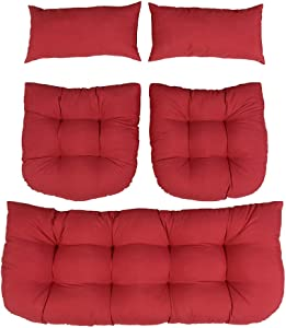 Indoor Outdoor 5 Piece Tufted Wicker Settee Cushions 1 Loveseat & 2 U-Shape & 2 Lumbar Pillows Weather Resistant,for Home Garden Furniture Patio Lounger Chairs (red)
