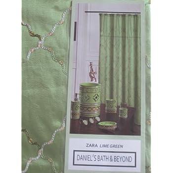 Zara Lime Green Shower Curtain Fabric 70x 72