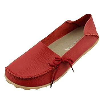 Fuxitoggo Mocasines de Cuero de Confort para el Trabajo para Mujer Mocasines Planos Zapatillas (Color : Style 1-Red, tamaño : 6_UK): Amazon.es: Hogar