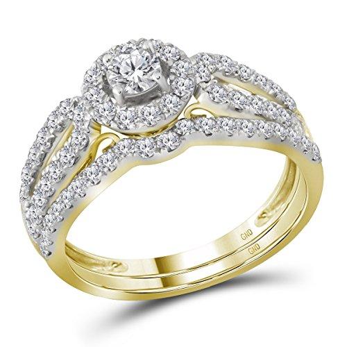 14kt Yellow Gold Womens Round Diamond Halo Split-shank Bridal Wedding Engagement Ring Band Set 1.00 Cttw - Shank 14kt Gold Setting Yellow