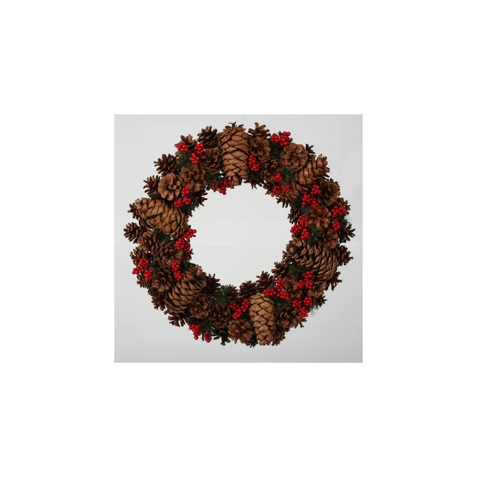 20 In the Birches Mixed Pine Cone with Red Berries Artificial Christmas Wreath