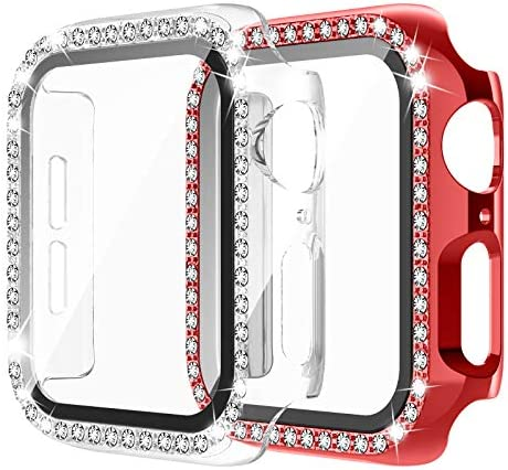 Apple Watch Case with Tempered Glass Screen Protector for iWatch 44mm Series 6/5/4/SE [2 Pack] Bling Crystal Diamond Rhinestone Bumper Full Cover Protective Case for Women Girls