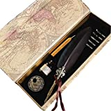 GC Quill Antique Feather Writing Quill Pen Gold Pen Stem Calligraphy Pen Set 100% Quality Guarantee