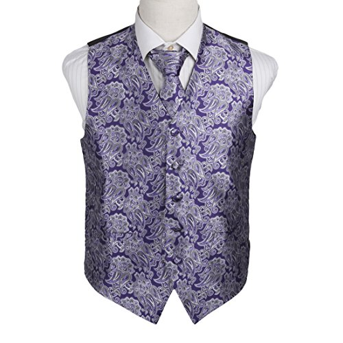 Contemporary Dress Patterns (EGD1B06A-XL Purple Grey Patterns Microfiber Lawyers Dress Vests Neck Tie Set Perfection For Designer By Epoint)