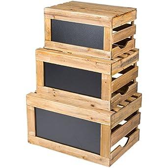 Tablecraft rcbcrate1 3 piezas Natural madera pizarra elevador de caja Set: Amazon.es: Amazon.es