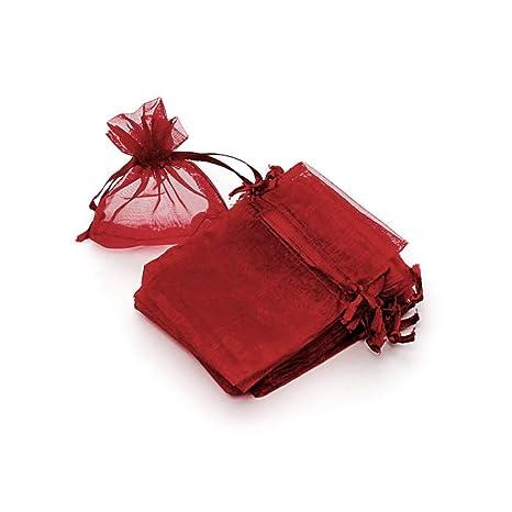 RUBY - 50 Piezas Bolsas de Organza para Fiesta de Boda / 7cm x 9cm / Saquitos/Bolsitas Regalo Joyeria Envio Desde ESPAÑA (Granate)