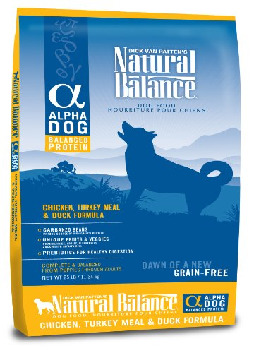 Natural Balance Alpha Grain-Free Chicken, Turkey Meal, and Duck Formula for Dogs, 25-Pound Bag