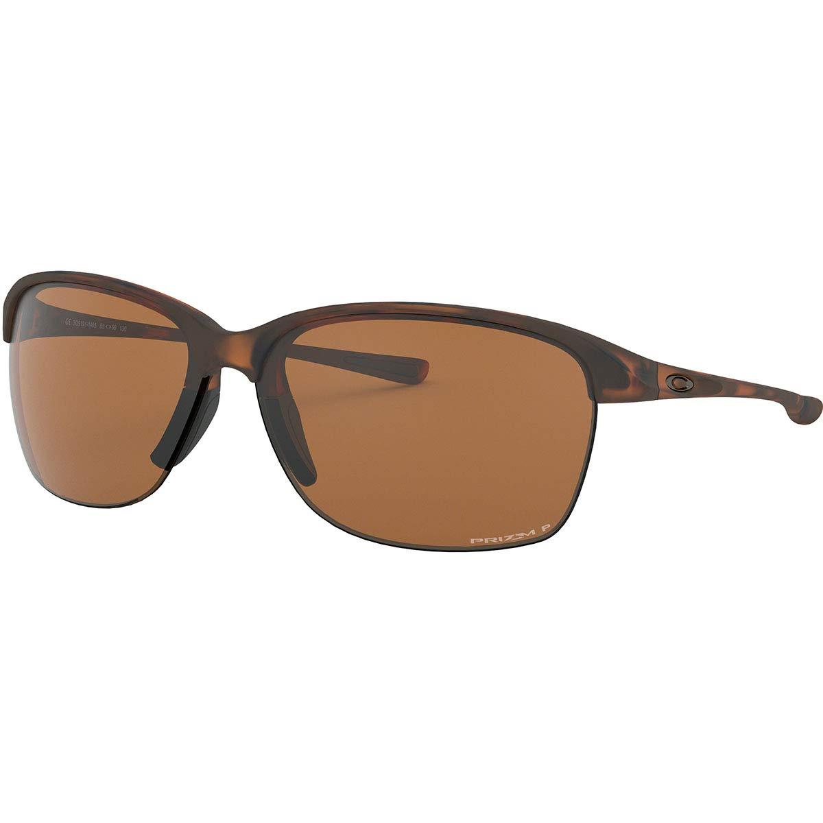 Oakley Women's OO9191 Unstoppable Rectangular Sunglasses, Matte Brown Tortoise/Prizm Tungsten Polarized, 65 mm by Oakley
