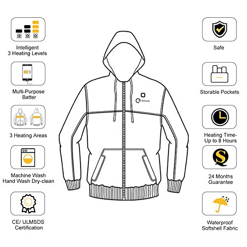 OUTCOOL Women's Cordless Heated Hoodie Kit Color Matching Design Full-Zip Hooded Fleece Sweatshirt(M) by OUTCOOL (Image #5)