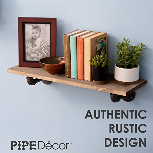 Rustic Pipe Decor Industrial Shelf Brackets – Double Flange Bracket Set of Four, Iron Metal Grey Black Fittings, Custom DIY Floating Shelves, Vintage Furniture Decorations, Wall Mounted (4 Inch Pipe) by PIPE DÉCOR (Image #4)