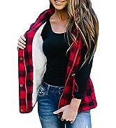 FISACE Women Buffalo Plaid Jacket Vest Hooded Sleeveless Lightweight Anoraks Sherpa Winter Coat C...