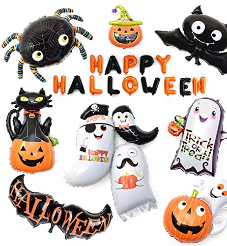 HORHIN Halloween Aluminum Foil Balloons Set,Back Drop Party Decorations,Jumbie Pumpkins Ghost Pumpkin Black Vampire Cat Spirit Host,Home Garden Bar Reusable Party Supplies