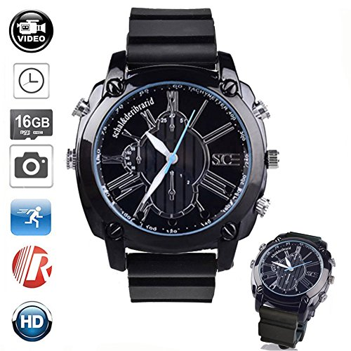table Camera 1080P Micro Cameras 16GB Multifunctional Smart Waterproof Watch IR Night Vision for Home Nanny Outdoor ()